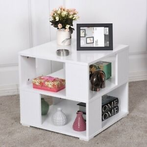 New White Modern Coffee Table Bedside Table Shelf Photo Holder $89.99