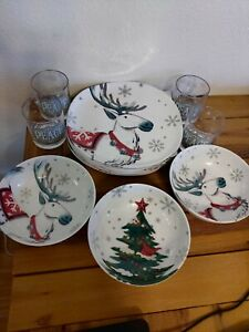 Target Wondershop Holiday Winter Christmas Melamine Plastic Lot 8 Plates 4 Cup