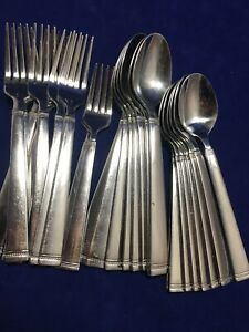 25 Food Network FONTINELLA Fork Spoon Stainless Lot beaded/banded