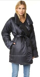 💥💥 Norma Kamali Womens M Black Belted Sleeping Bag Oversized Puffer Coat 💥💥
