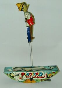 Pinocchio Acrobat Lithographed Tin Wind-up Louis Marx 1939 Excellent Condition
