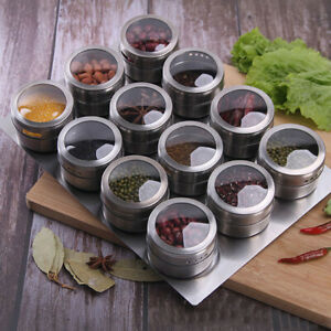 DI- Magnetic Spice Storage Container JarTins With Rack Holder Stainless Steel