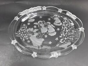 Mikasa Holiday Lights Christmas Sweet Dish 9 Oval Plate with Angels
