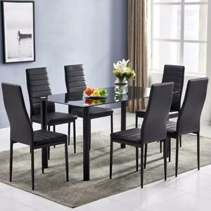 Hot DA154 7-Piece Dining Table Set Leather Chairs - Black Kitchen Furniture US