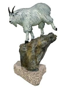 RICK TAYLOR 20th c. Canadian BRONZE SCULPTURE Mountain Goat WINDY CRAGGY 1991
