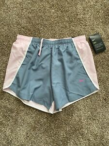 NWT Nike Dri Fit Girls Running Shorts Gray Pink Size XL Lined $15.00