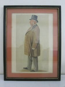 #1 Antique c. Late 1800s Vanity Fair Dapper Gentleman Lithograph Framed 13x17