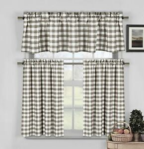 Taupe Gray 3 Pc Gingham Check Cafe/Tier Set: 40% Cotton Rod Pocket