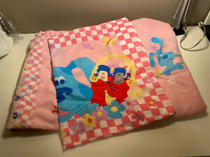 Vintage Blues Clues 3 Pc Twin Bed Sheet Set ~ Flat Fitted Case ~ Pink ~ Fabric
