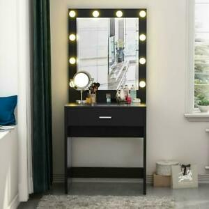 10 LED Lights Vanity Table Set with Lighted Mirror Makeup Dressing Dresser Table