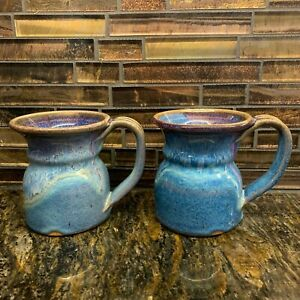 2 Blue Stoneware Pottery Coffee Tea Mugs 8 oz GREAT GIFT Ceramic EXCELLENT COND