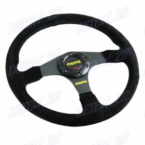 Universal 340mm Racing Steering Wheel with Suede Leather For momo hub X1 $79.99