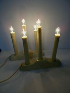 2 Vintage Christmas 3 Light Window Candle Electric Plastic Drip Candelabras