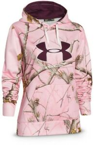Womens Small Under Armour Realtree Coldgear Hunting Pink Camo Hoodie $34.99