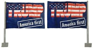 2 Pack Trump America First Blue Rough Tex Knit Double Sided 12quot;x18quot; Car Flag