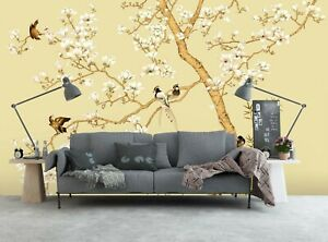 3D Flowers Birds PKE240 Business Wallpaper Wall Mural Self adhesive Commerce Kay