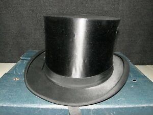 ANTIQUE TOP SILK TOP HAT WITH TRAVEL HAT BOX.