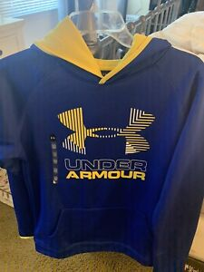 YOUTH BOYS UNDER ARMOUR HOODIE XLARGE BLUE YELLOW LOOSE FIT STORM NWT $13.99