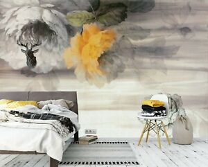 3D Ink Flowers PKE626 Business Wallpaper Wall Mural Self adhesive Commerce Kay