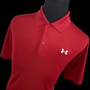 Under Armour Red Short Sleeve Performance Golf Tennis Polo Shirt Mens Large L $25.51