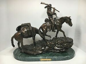 Inspired By Frederic Remington A White Trapper Western Art Bronze Sculpture