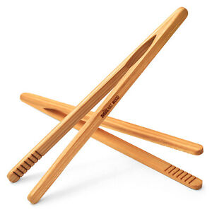 Set of 2 Wooden Kitchen Cooking Tongs, 8