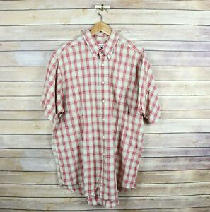 BROOKS BROTHERS Sport Men's Short Sleeve Button Front Shirt L Large Red Plaid $8.98