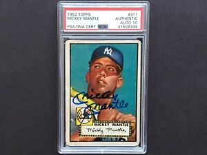 ** 1952 TOPPS MICKEY MANTLE PSA DNA GEM MINT 10 AUTO ROOKIE NEW YORK YANKEES **