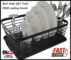 ESYLIFE Kitchen Dish Drainer Drying Rack with Drip Tray and Full Mesh Silverware