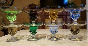 Rare Vintage Blefeld Mid Century Crystal Sherbet Coupe Champagne Colored Glasses