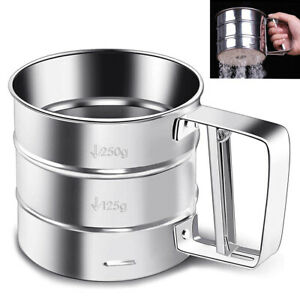 Stainless Steel Mesh Flour Icing Sugar Sifter Sieve Strainer Cup Baking Tool Sur