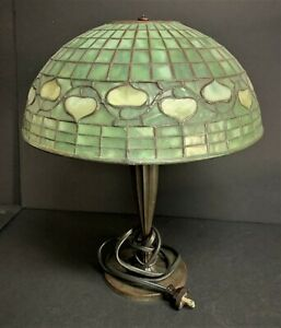"16 12"" High Tiffany Lamp with Green Stained Glass Shade Acorn Design"