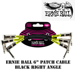 **3 PACK ERNIE BALL 6quot; RIGHT ANGLE BLACK PATCH CABLES 6050** $16.99