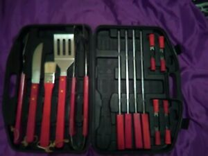 BBQ 17 Piece Tool Set & Hard Case Grilling  Utensils Steel Barbecue Accessories