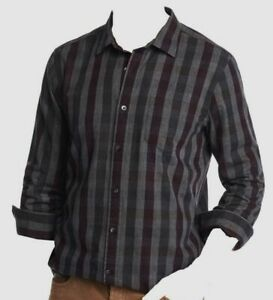 $295 Bloomingdales Mens Fit Gray Plaid Long Sleeve Button Flannel Shirt Size XL $31.56