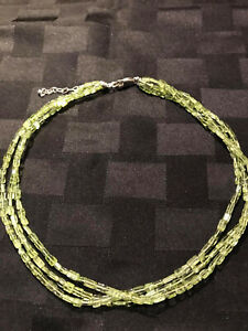 Peridot Green Bead Triple Strand Necklace 16 inches with extender $9.99