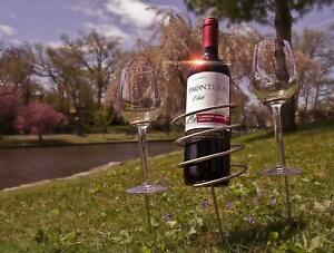 ESYLIFE Wine Stakes Set Wine Sticks Holds Bottle and 3 Glasses Preventing Them