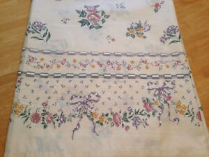 Vintage Cannon Royal Family Full Double Flat Sheet Ivory Floral Ribbon USA Made