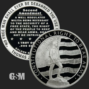 1 1 oz .999 Fine Silver Round Right to Bear Arms 2nd Amendment BU New