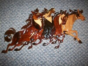 """4 RUNNING HORSES- hand carved wood intarsia wall art - 20""""x 9""""-made in China #2"""
