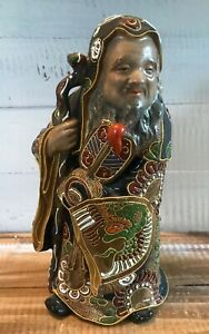 Antique Japanese Satsuma Moriage Painted Bearded Man with Staff Figure 975