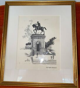 1950s Sam Houston Monument Hermann Park Texas Lithograph EMIL BUNJES vintage