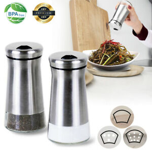 2PCS Premium Stainless Steel Salt and Pepper Shakers with Adjustable Pour Holes