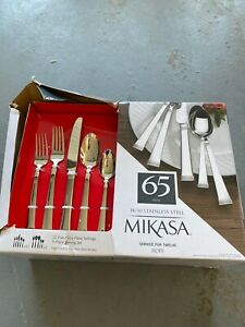 Mikasa Rope 18/10 Stainless Steel Service For 12, 65 Piece Serving Set  New