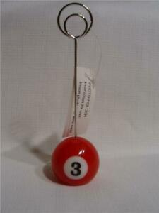 New #3 Red Pool Ball wire Photo Clip  Note & Scorecard Holder - Great Gift