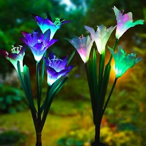 2 pack Solar Lily Flowers Garden Lights LED Outdoor Yard Decor Lamp Multi Color