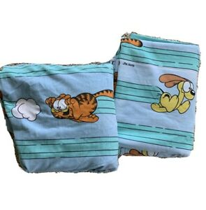Vintage Garfield Cat & Odie 1978 Flat Fitted Sheets Set Jim Davis Stevens FULL