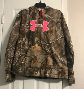 Under Armour Womens Real Tree Camo Slip on Hoodie With Pink Logo Size L $24.99