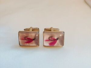 VINTAGE CUFF LINKS FISHING PINK LURES GOLD TONE