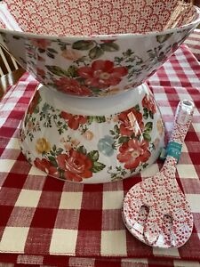 THE PIONEER WOMAN VINTAGE FLORAL SALAD SERVING 1-BOWL ONLY &SALAD SERVER SET RED
